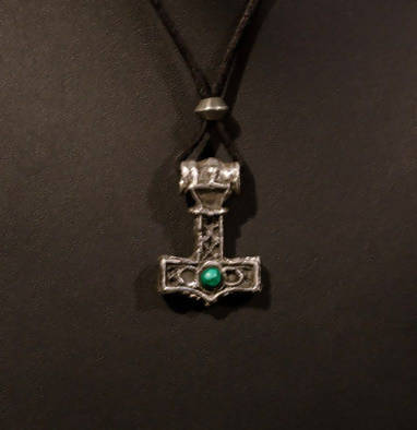 sterling silve Mjolnir with malachite