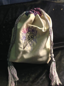 Embroidered Bird Skull/Flower Motif Pouch