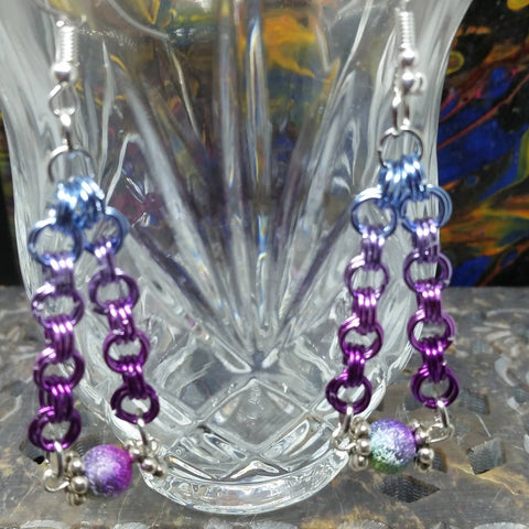 Violet Chainmaille Earrings