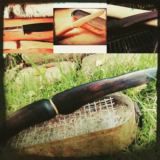 Handcrafted Athame - Single Sided Blade - birch wood- Stained with selfmade stain.