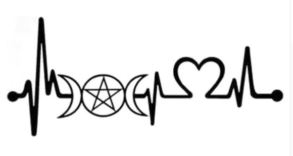 Heartbeat Triple Goddess Pentacle - Black