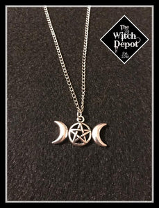 Triple Goddess Pentacle Necklace