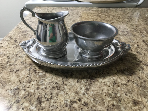Pewter Pitcher, Bowl, and Plate