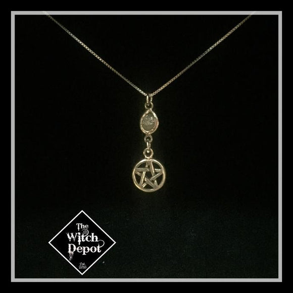 Raw Diamond and  sterling silver pentacle necklace