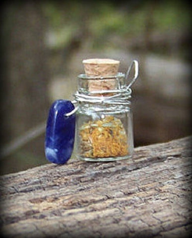 Psychic Defense Charm Bottle Pendant with Sodalite
