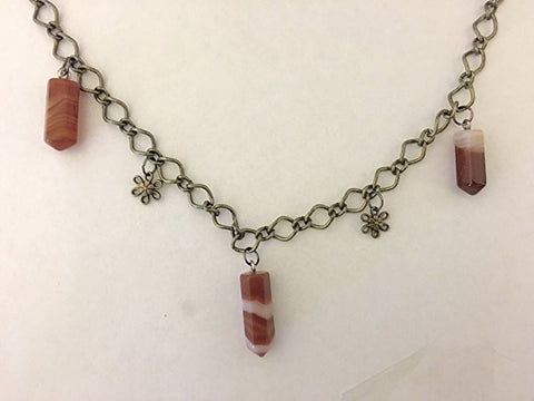 Red Agate and Flower Charm Necklace
