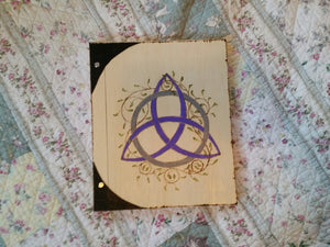 Silver and Purple Triquetra 12 x 11 inch  Book Of Shadows