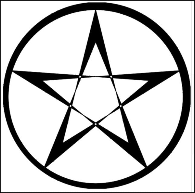 Pentacle decal, large - black