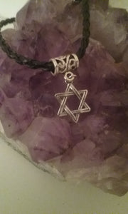 Braided Leather Bracelet with Star of David