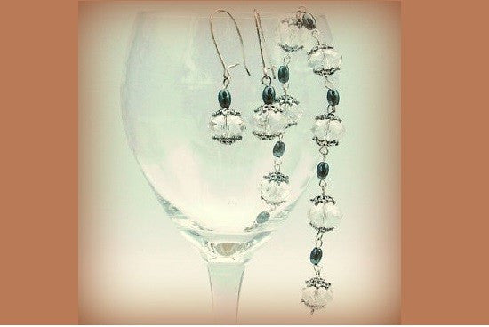 Swarvorski Crystal and Hematite Earring and Bracelet Set