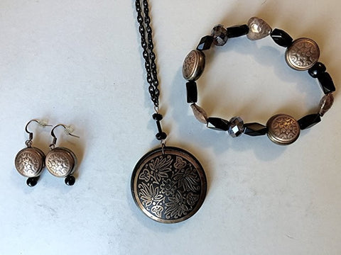 Black and Copper Medallion Jewelry Set