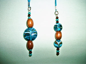 Blue bookmark with blue and brown beads