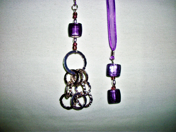 Purple bookmark with silver pendant