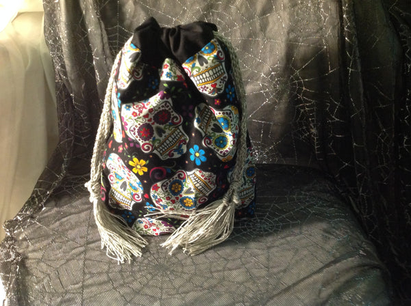 Sugar Skull Patterned Cotton Drawstring Pouch