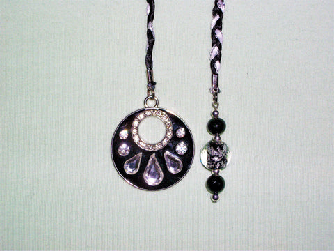 Black and white bookmark with black and silver beads and black pendant