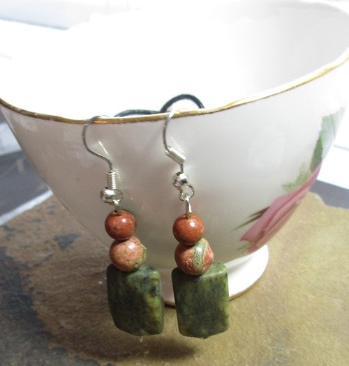 Unakite & serpentine earrings