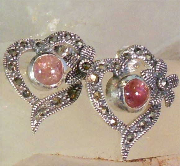 SS Red Tourmaline Earrings