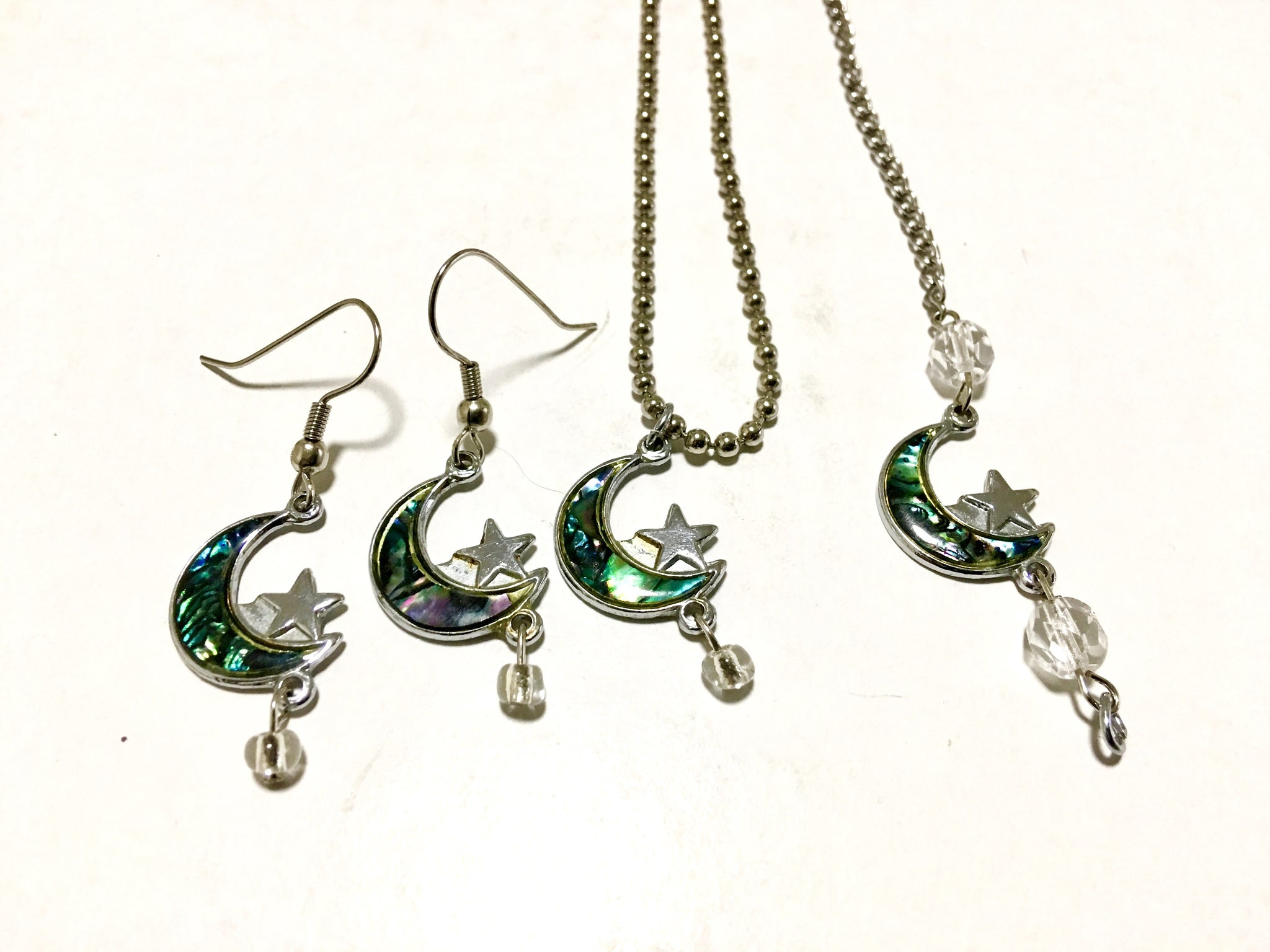 Abalone Moon and Silver Star Jewelry Set