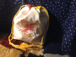Embroidered Phoenix Cotton Drawstring Pouch