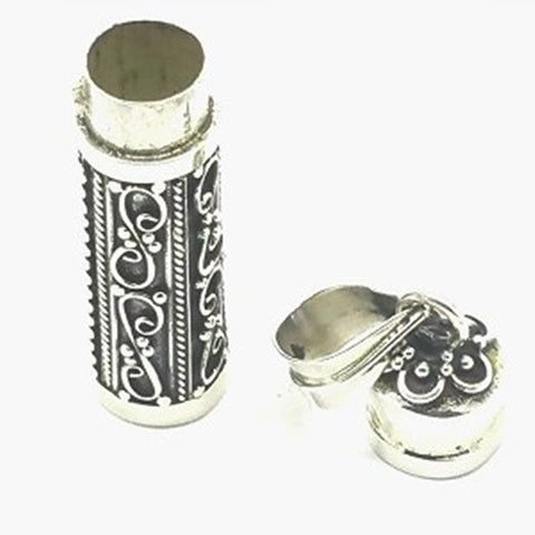 925 Sterling Silver Cylinder Stash Box Pendant
