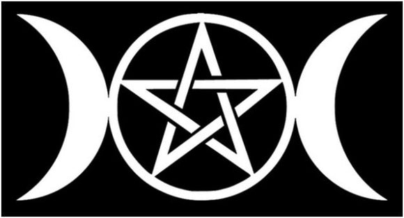 Triple Goddess Pentacle Decal - Silver
