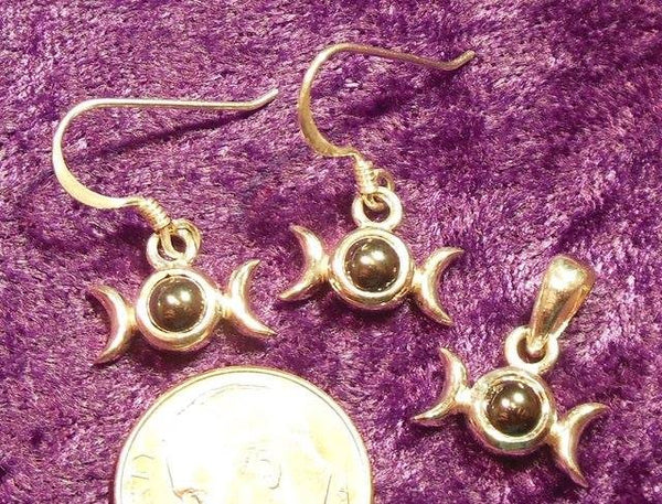 SS Triple Goddess Earrings & Pendant set w/ Hematite