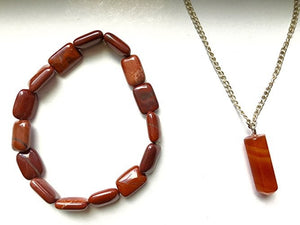Red Agate Necklace and Bracelet