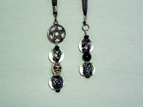 Black bookmark with black and silver beads and pentagram charm