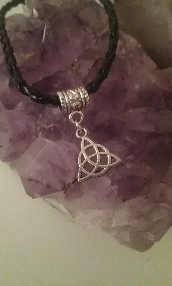 Braided Leather Bracelet with Triquetra