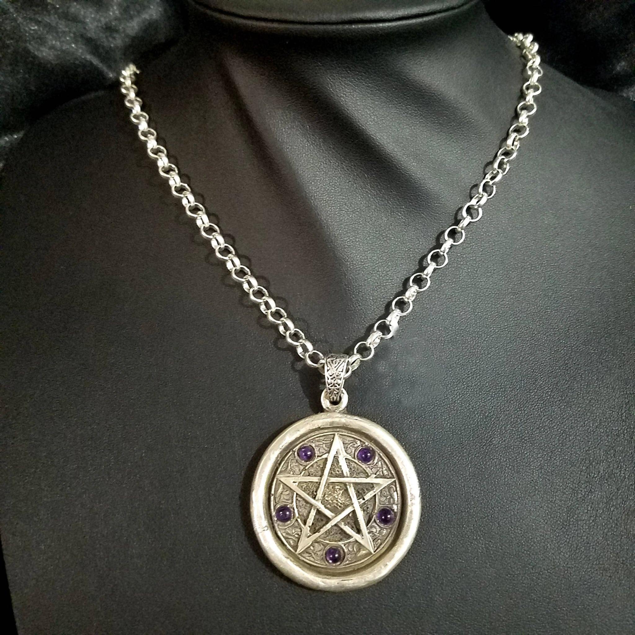 large sterling silver pentacle with amethyst