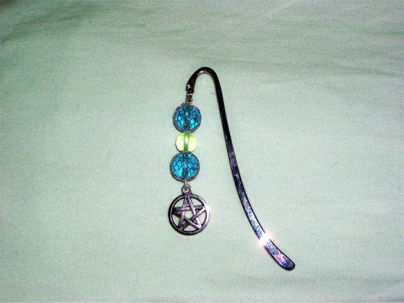 Silver metal bookmark with blue beads and pentagram charm