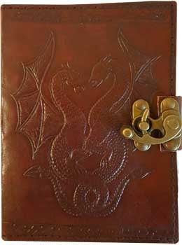 Double Dragon leather blank book with latch