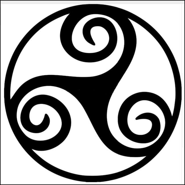 Three Armed Spiral Decal - Black