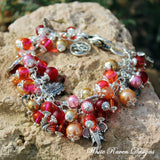 Charm bracelet -LAKSHMI - Hindu Goddess of abundance - Wealth and spiritual prosperity - Pink Gold Handcrafted by White Raven Designs