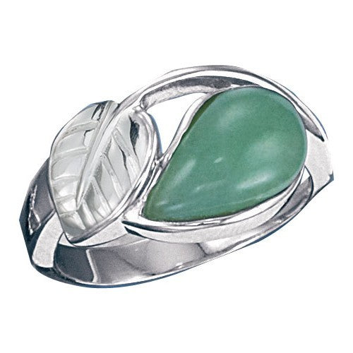 Aventurine  Leaf Ring size 10