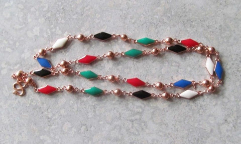 Copper & Enamel Necklace ~ 21""