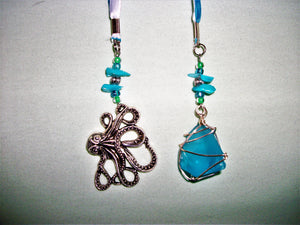 Blue bookmark with sea glass and octopus pendants