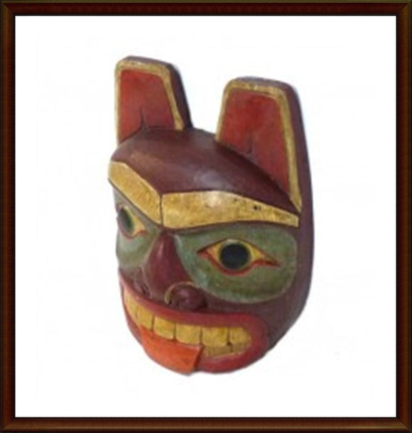 Hand Carved Wood Totem Mask