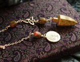 Unakite Gemstone Pendulum - Triquetta and tree of life - Wicca - Pagan - Scrying Dowsning tool - Gypsy Fortune Teller - Handmade