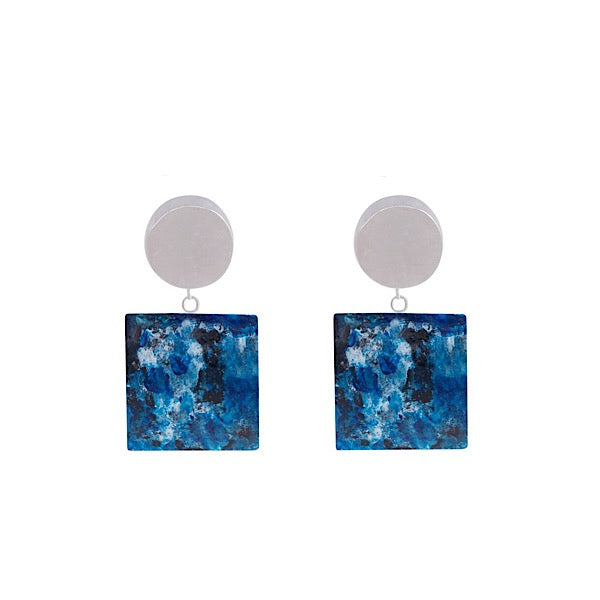 RESIN EARRINGS WITH WATERCOLOUR PAINTING