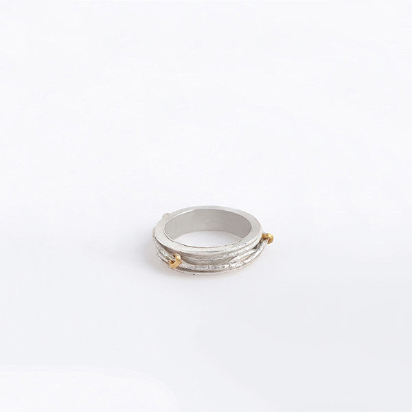 THE CABLE THICK AND THIN RING MADE BY LAMCY 藍秋燕 CONTEMPORARY JEWELRY DESIGNER. IT IS MADE BY STERING SILVER WITH 24K GOLD PLATED. MADE TO BE WORN AS RINGS OR PENDANTS. EASY TO MIX AND MATCH WITH OTHER BASIC AND TEXTURED RINGS. INSPIRED BY THE CRAZY CABLES IN VIETNAM. HANDMADE IN HO CHI MINH CITY, VIETNAM. SHIP WORLDWIDE FROM HONG KONG AND VIETNAM.