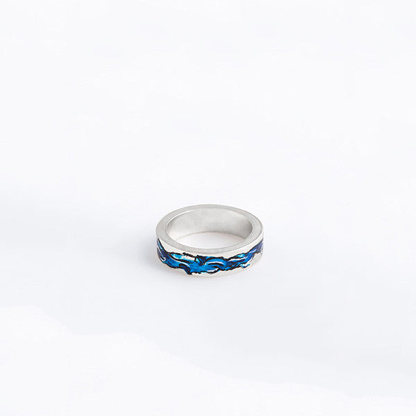THE WATERCOLOUR THICK AND THIN RINGS MADE BY LAMCY 藍秋燕 CONTEMPORARY JEWELRY DESIGNER.  IT IS MADE BY STERLING SILVER WITH ACRYLIC COLOUR PAINTING ON TOP, COVERED WITH RESIN, MADE TO BE WORN AS RINGS OR PENDANT. THE BEST OPTION IS MIX AND MATCH WITH OTHER OTHER COLOURED AND BASIC RINGS. THE RING IS INSPIRED BY ABSTRACT WATER COLOUR PAINTING IN BLUE. HANDMADE IN HO CHI MINH CITY, VIETNAM. SHIP WORLDWIDE FROM HONG KONG AND VIETNAM.
