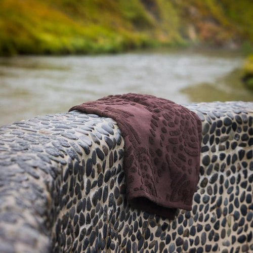 Organic Rorschach Bath Towel In Dark Brown