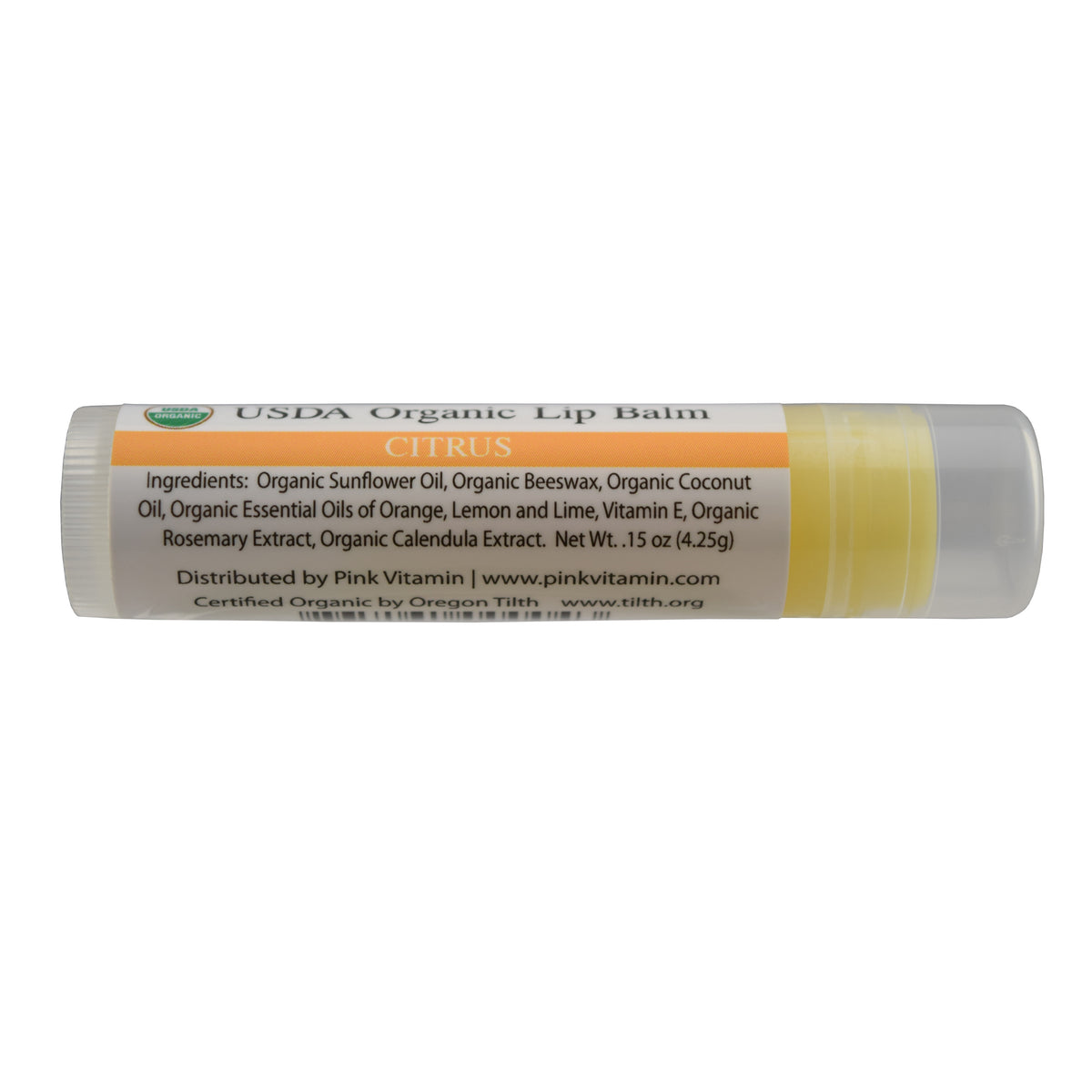 pink organic lip balm citrus flavor no more dry lips
