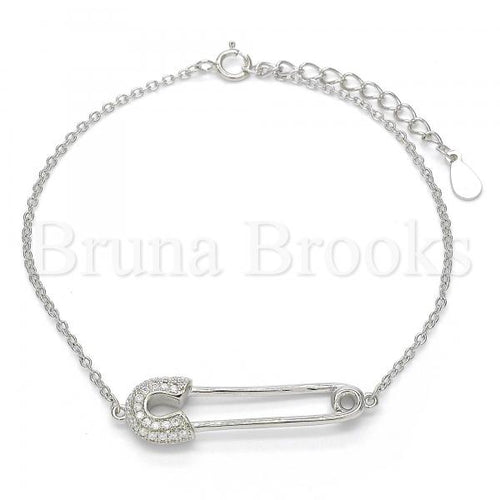 Bruna Brooks Sterling Silver 03.336.0015.07 Fancy Bracelet, with White Crystal, Polished Finish, Rhodium Tone