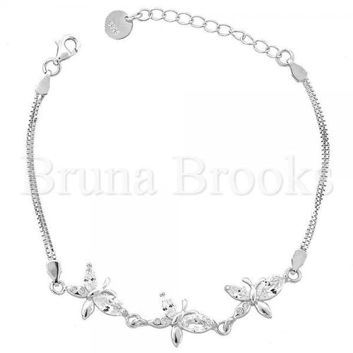 Bruna Brooks Sterling Silver 03.183.0080.06 Fancy Bracelet, Butterfly Design, with White Cubic Zirconia, Rhodium Tone