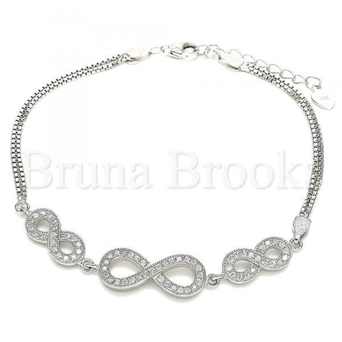 Bruna Brooks Sterling Silver 03.286.0032.07 Fancy Bracelet, Infinite Design, with White Micro Pave, Polished Finish, Rhodium Tone