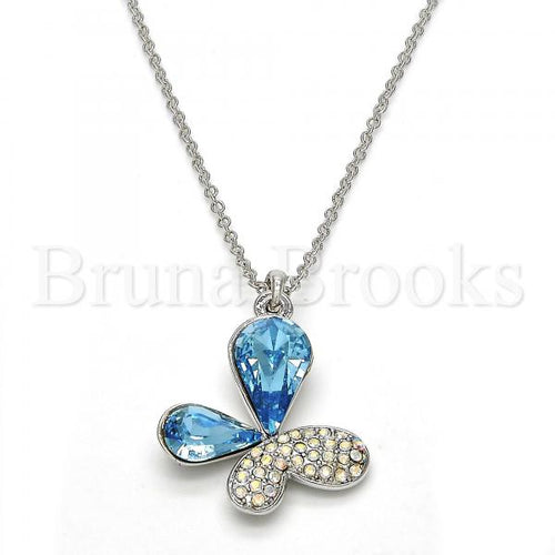 Rhodium Plated Fancy Necklace, Butterfly Design, with Swarovski Crystals, Rhodium Tone
