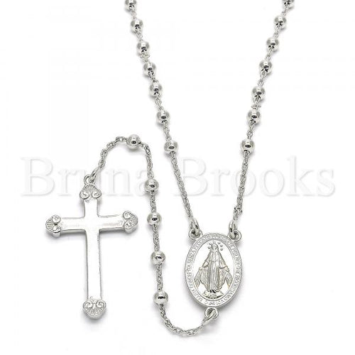 Bruna Brooks Sterling Silver 09.285.0005.28 Thin Rosary, Virgen Maria and Cross Design, Polished Finish, Rhodium Tone