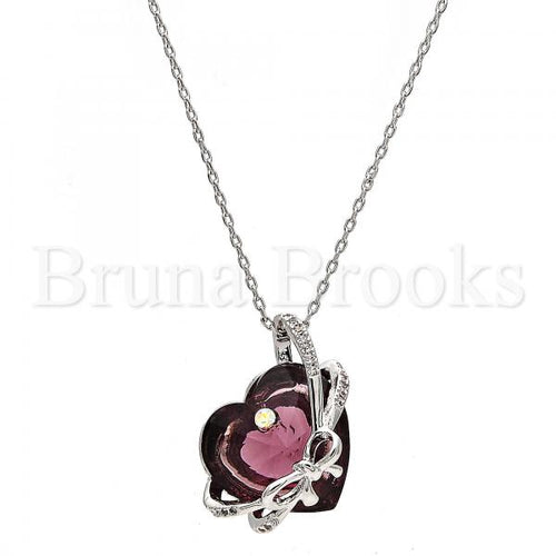 Rhodium Plated Fancy Necklace, Heart Design, with Swarovski Crystals and Micro Pave, Rhodium Tone